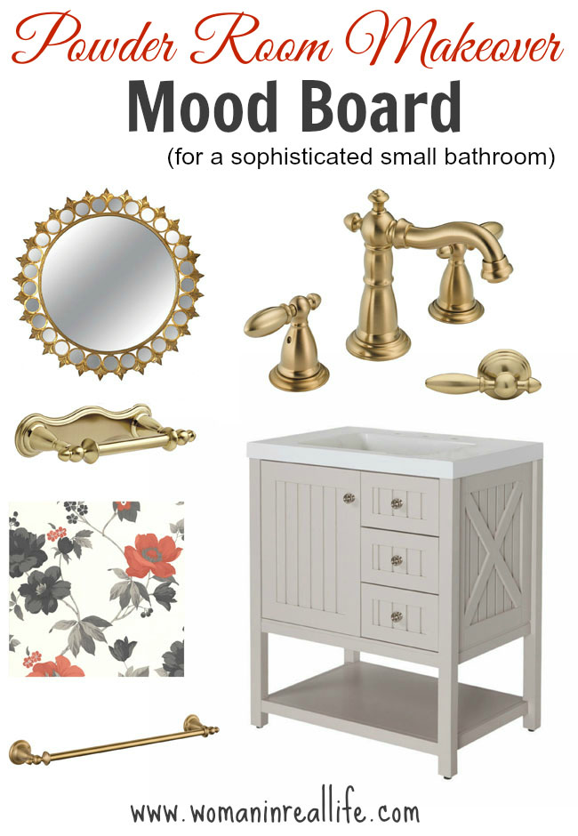 Powder Room Makeover Mood Board - for a sophisticated small bathroom reno
