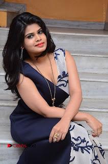 Telugu Actress Alekhya Stills in Blue Long Dress at Plus One ( 1) Audio Launch  0100.jpg