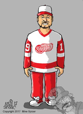 Red wings hockey fan art caricature picture gift ideas