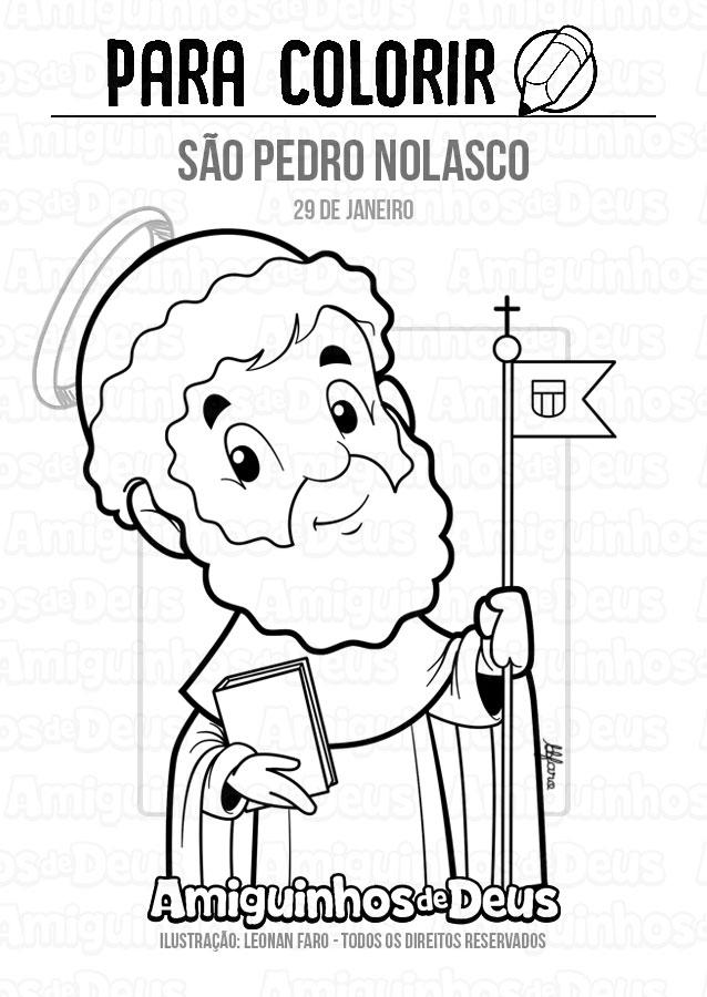 São Pedro Nolasco desenho para colorir