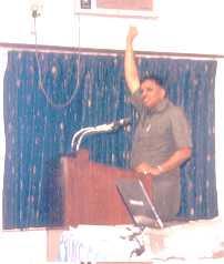 Dr K M Prabhu talking on 'listening skills' and administering exercises