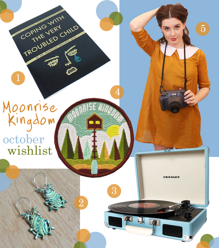 Moonrise Kingdom, Wishlist, wish list, Vintage Style Me, You Can't Go Back notebook, Ailsa Whittet Ritchie beetle earrings, Crosley Cruiser turntable in teal, Moonrise Kingdom patch, For the Love of Patch