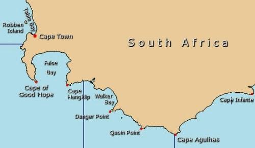 mapa da África do Sul - Cabo da Boa Esperança e Cabo Agulhas
