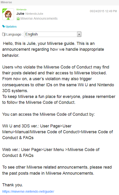 Miiverse Nintendo Julie console ban June 2015 update announcement