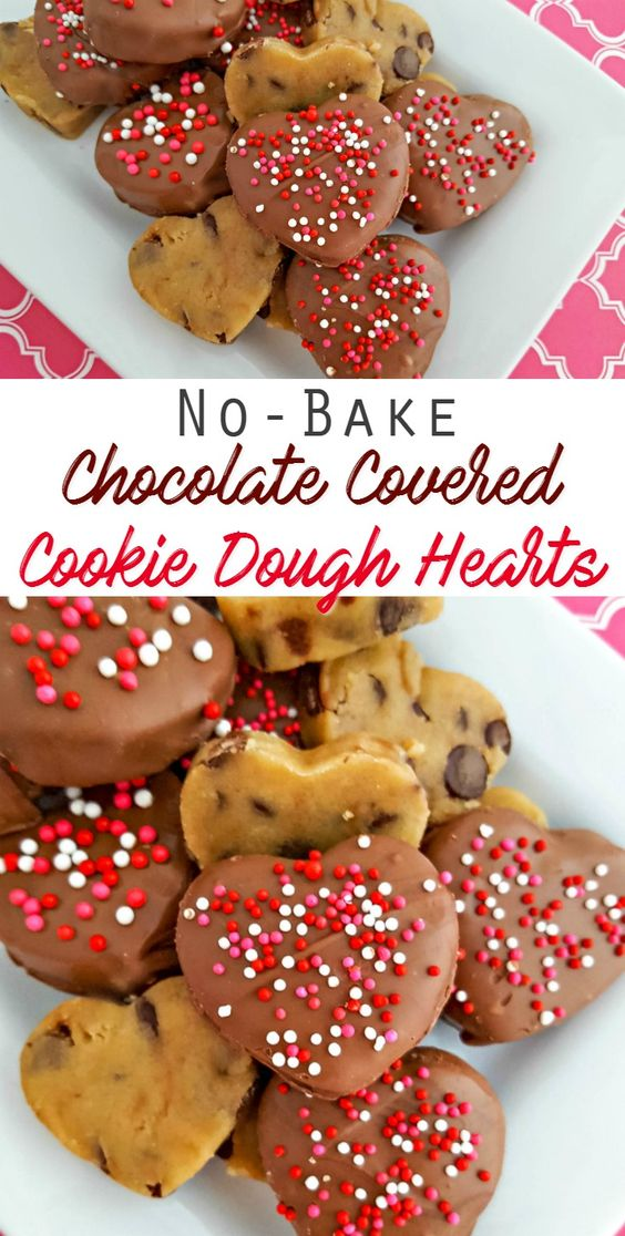 NO BAKE -Chocolate Covered Cookie Dough Hearts