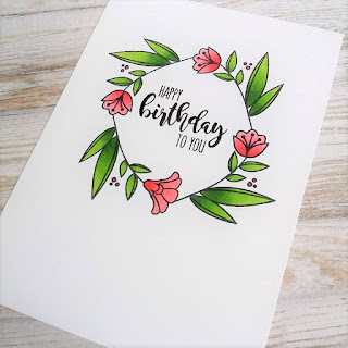 Birthday card with Uniko stamps