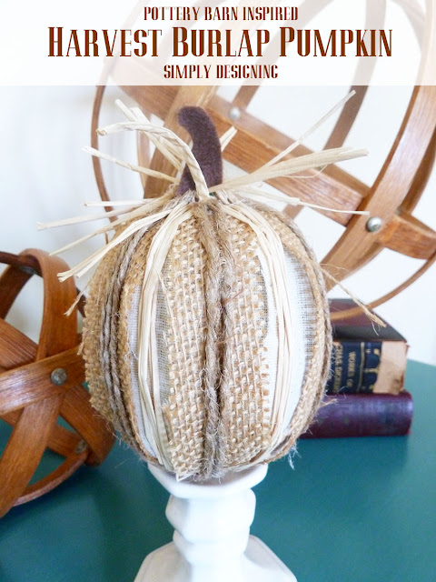 Harvest Burlap Pumpkin {Pottery Barn Inspired} | #fall #diy #thanksgiving #pumpkins #pbknockoff