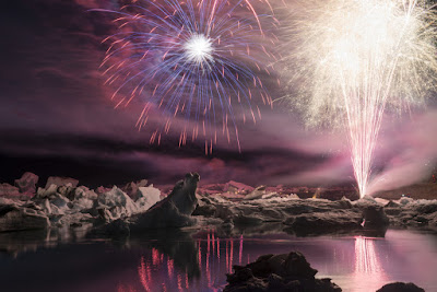 Summer fireworks display at Jökulsárlón Glacier Lagoon in August