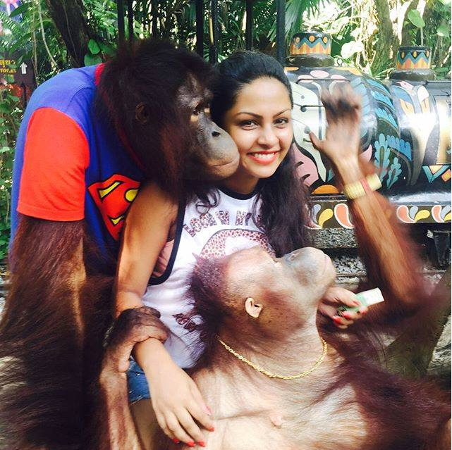 actress shalani tharaka hot thailand trip holidays vacation hot photos orangutan monkeys tigers