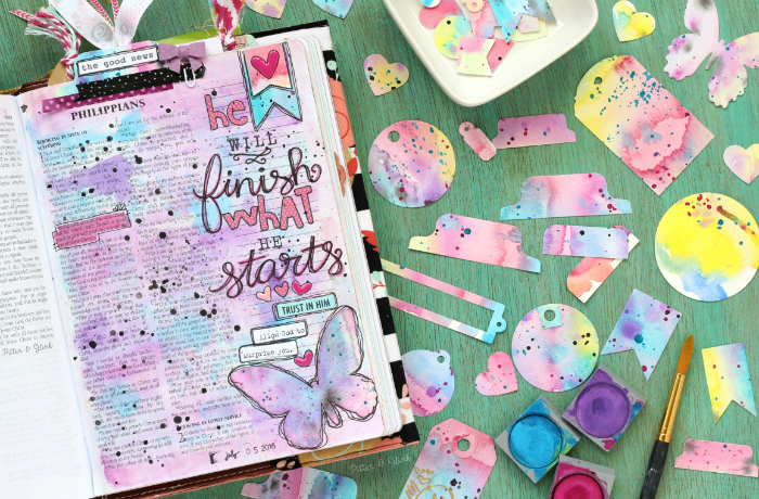 colorful watercolor tabs and gift tags tutorial