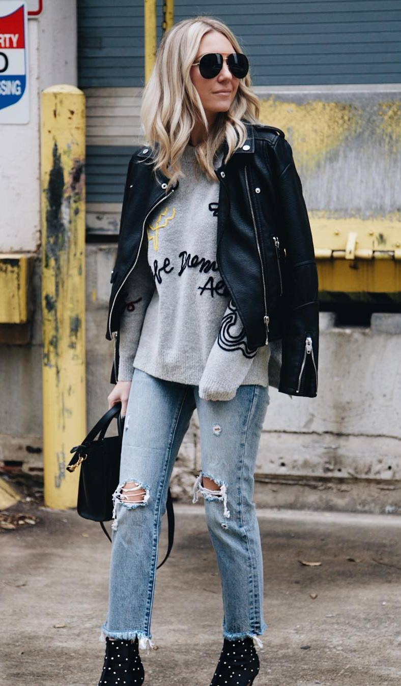 incredile fall outfit / black moto jacket + boots + rips + bag + sweatshirt