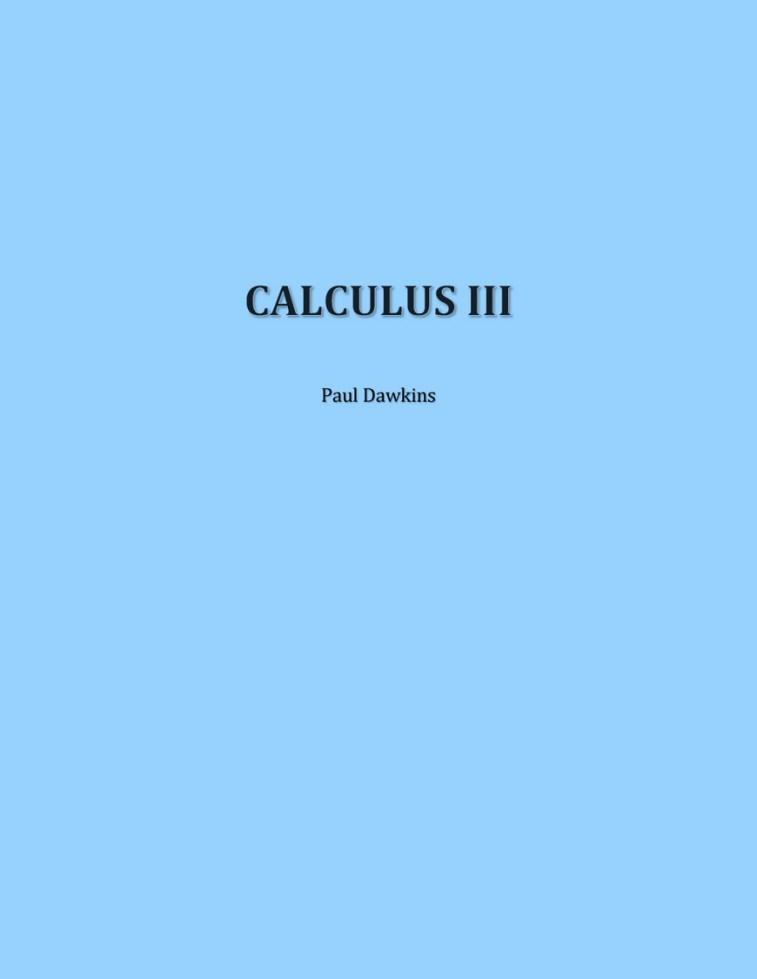 Calculus III – Paul Dawkins [Complete]