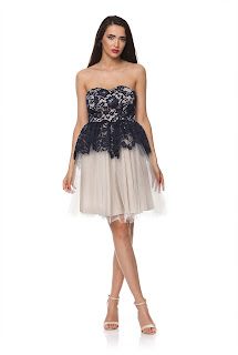 Rochie de ocazie bleumarin cu bej, cu peplum