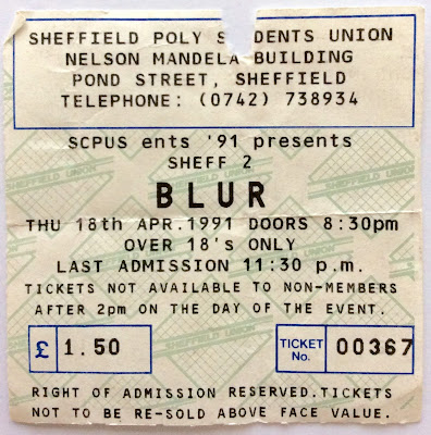 blur sheffield gig 1990, blur 1990s, blur tickets gig, old blur tickets, britpop tickets 1990, blur 1991 throwback