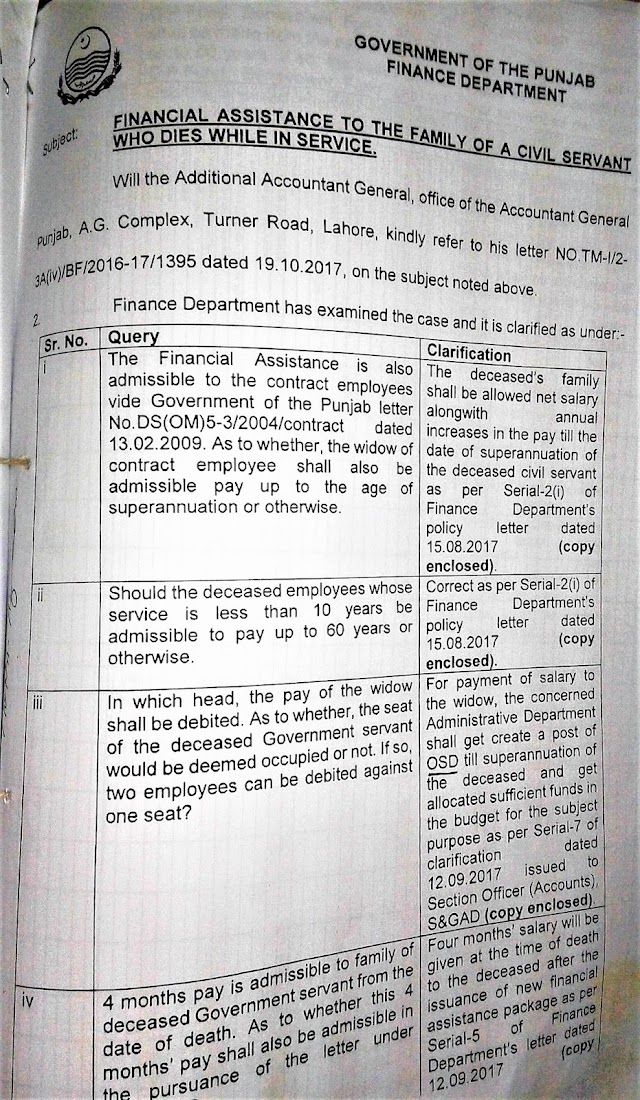 CLARIFICATION OF FINANCIAL ASSISTANCE TO THE FAMILY OF A CIVIL SERVANT WHO DIES WHILE IN SERVICE BY GOVERNMENT OF THE PUNJAB