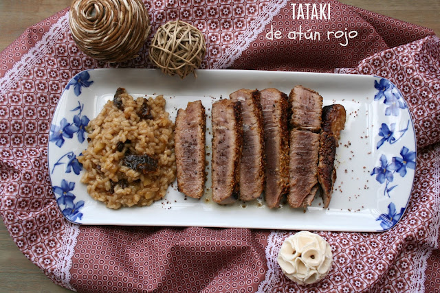 Tataki de atún rojo, arroz cremoso de manzana