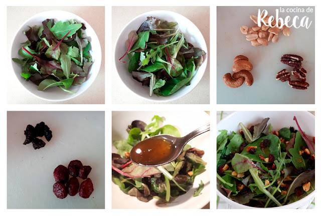 Receta de ensalada de frutos secos y frutas deshidratadas: el montaje