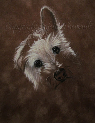 update of Terrier Dog Portrait Commission Painting by Animal Portraitist Colette Theriault