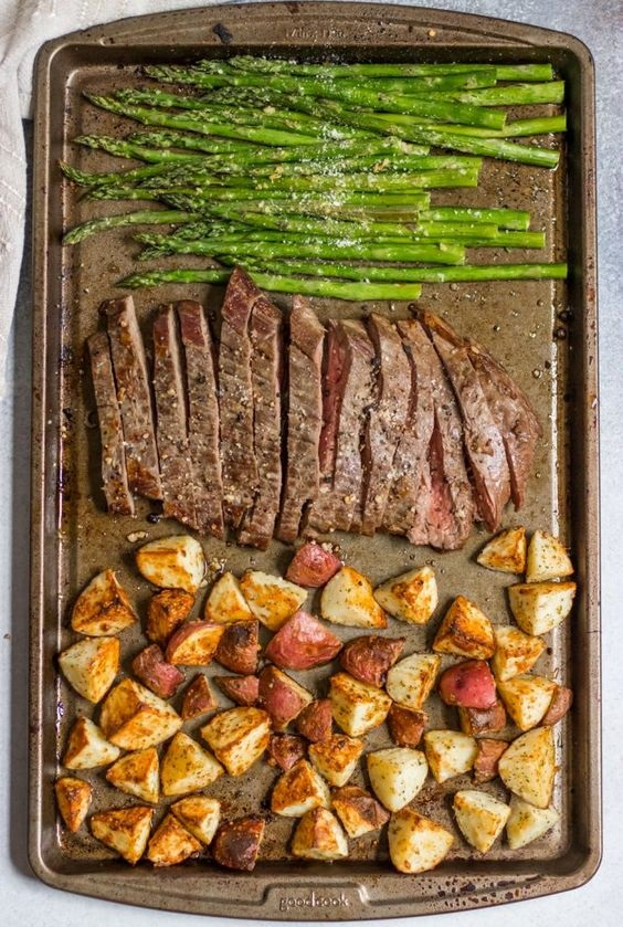 Parmesan Crusted Steak And Potato Sheet Pan Dinner