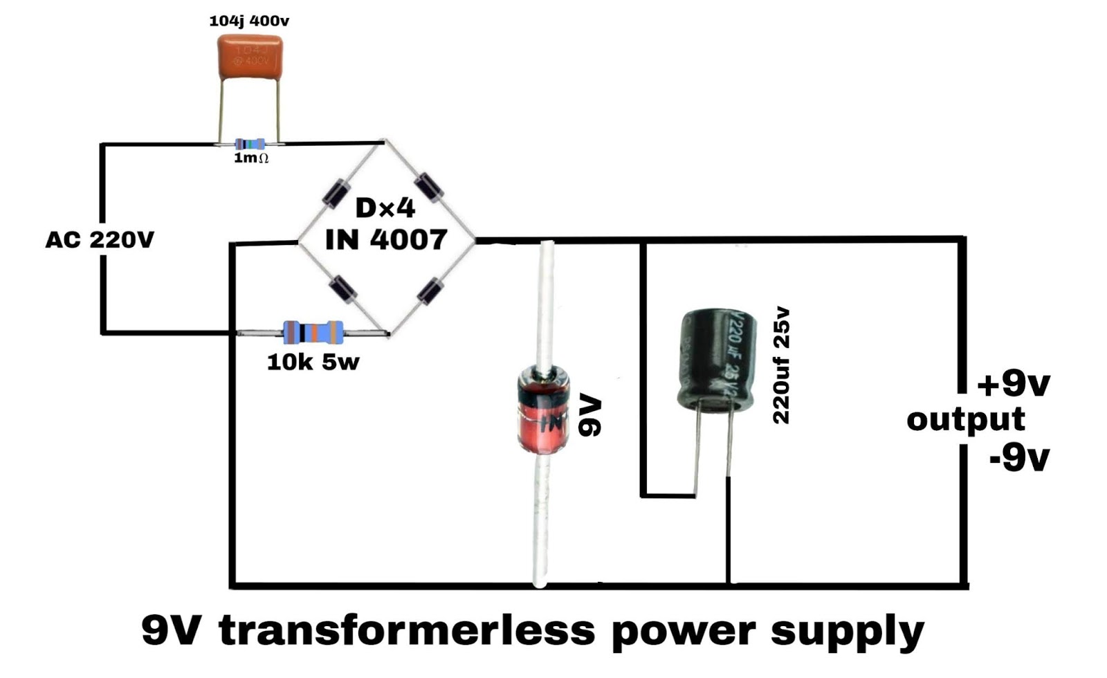 Electronics project: transformerless power supply circuit diagram