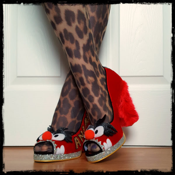 wearing Irregular Choice Muppets Animal red peep toes