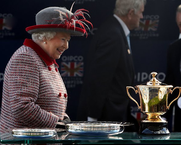 Britain's Queen Elizabeth at Ascot QIPCO British Champions Day Queen Elizabeth Style wore suit dress coat earrings bag