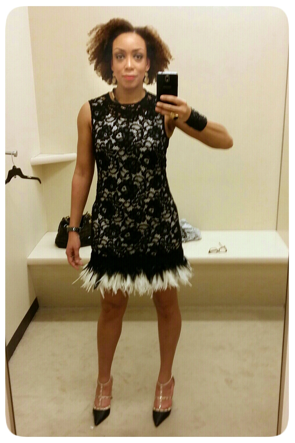 DKNY Feather Hem Lace Dress - Erica B's DIY Style!