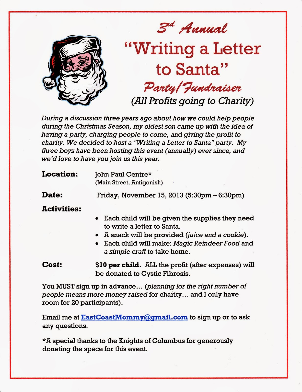letters to santa fundraiser east coast november 2013 18967 | poster