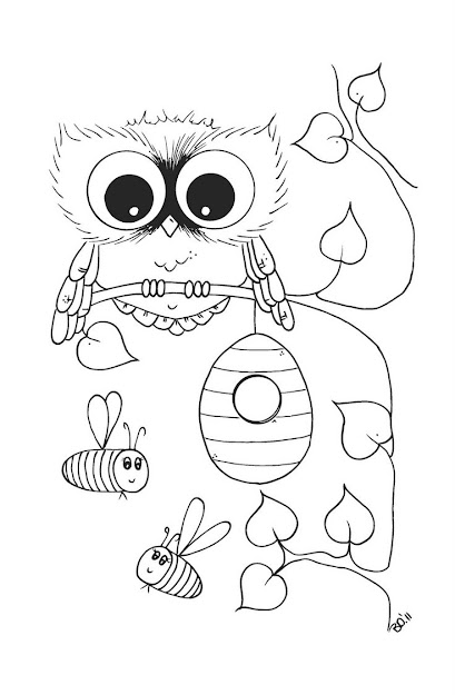 Hey Noticed This Page You Sent Me Has An Owl And Bees Can Color It All  And You Can Hang Th Owl On Your Christmas Tree Next To Your