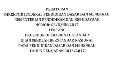 Prosedur Operasional Standar (POS) USBN 2017