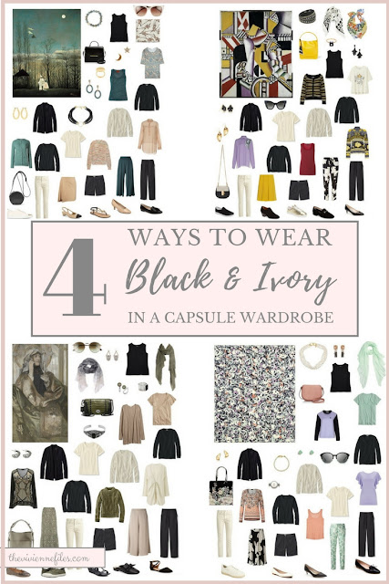 Four Different Ways to Wear Black and Ivory Neutral Building Blocks in a capsule wardrobe