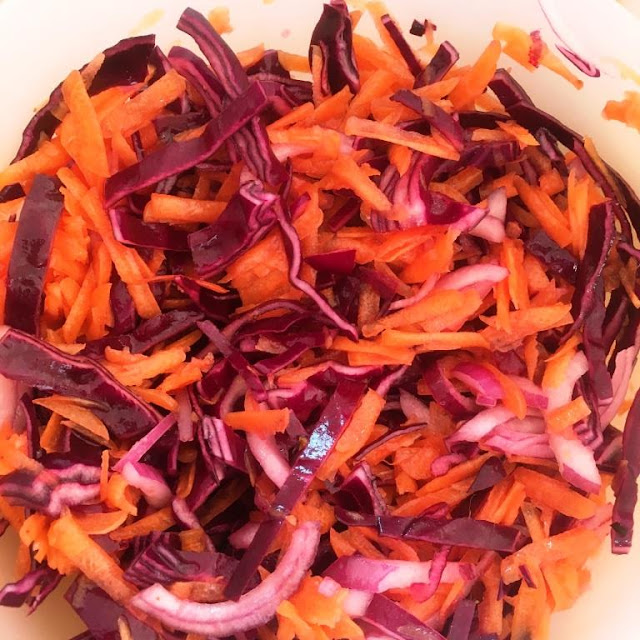Cool Citrus Coleslaw - with Red cabbage, carrot and red onion - this Summer's Perfect Slaw Recipe
