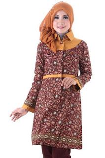 Baju batik muslim untuk kerja model terkini