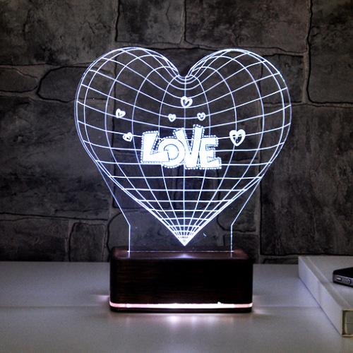 3 D Love LED Lamba
