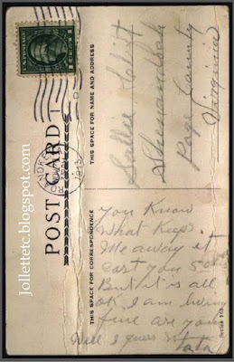 Postcard from George Clift to Sallie Clift  http://jollettetc.blogspot.com
