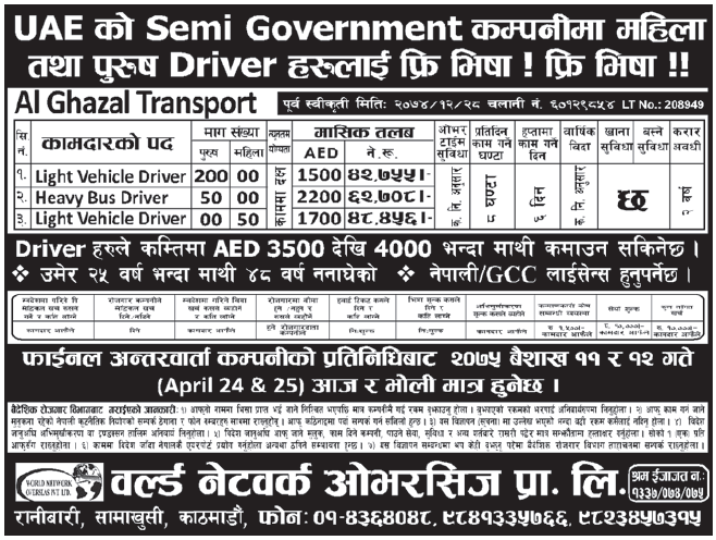 Jobs in UAE for Nepali, Salary Rs 62,708
