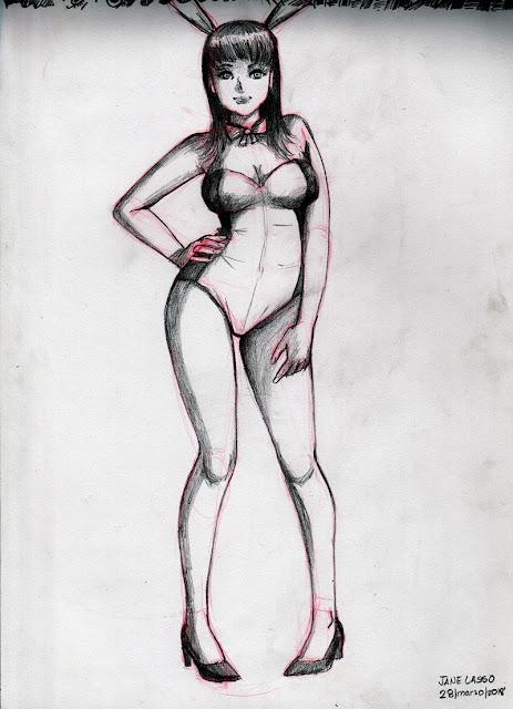 Dibujo a lápiz de conejita
