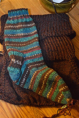 knitting socks with Regia North Pole