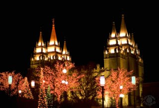 Quality photograph of the Salt Lake City Utah Temple at night with Christmas lights professionally shot by Cramer Imaging