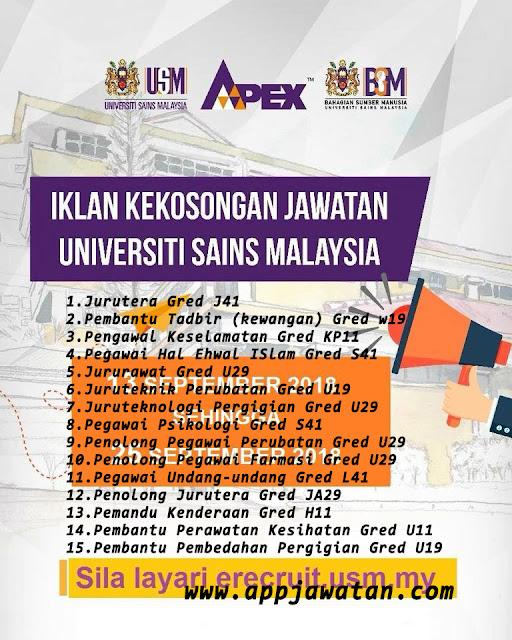 Iklan Jawatan kosong di Universiti Sains Malaysia (USM)