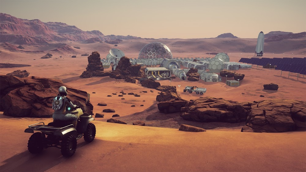 Astronaut on ATV near a Mars base with SpaceX ITS spaceship - Occupy Mars game image
