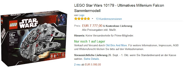 Das Amazon Angebot des Tages: LEGO Ultimatives Millenium Falcon Sammlermodell