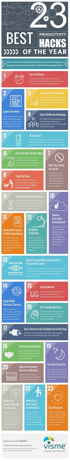 23 Productivity Hacks infographic
