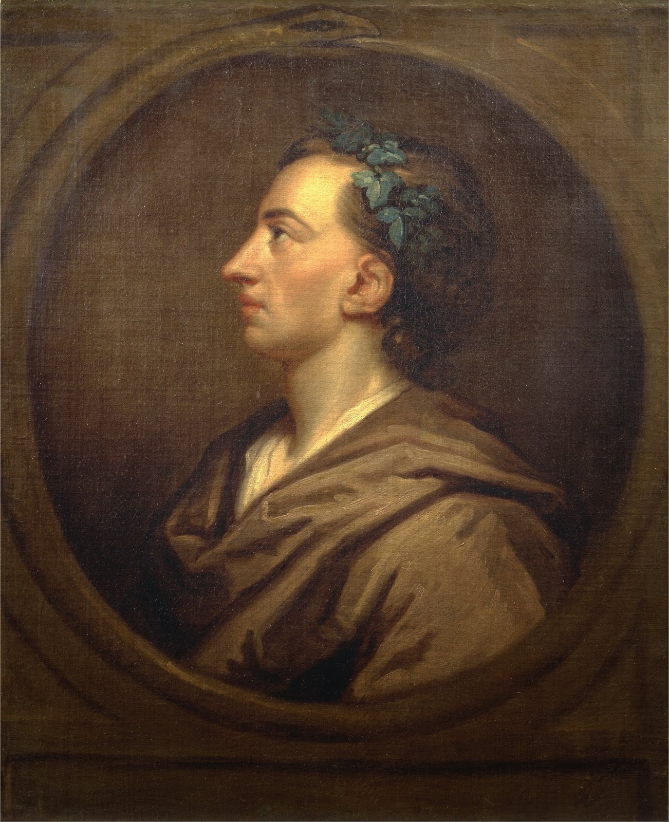rembrandt to reynolds english and dutch painting during the sir godfrey kneller alexander pope crowned ivy c 1721 oil on canvas 28 27 x 22 9 in yale centre for british art