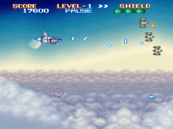 A ship flies above the clouds shooting blue lasers at enemies.