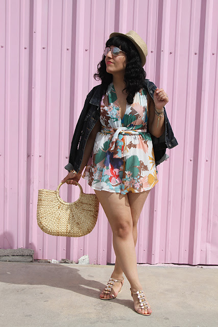 Kut from the Kloth Jacket and L'ATISTE Floral Romper Summer Travel Outfit | Will Bake for Shoes
