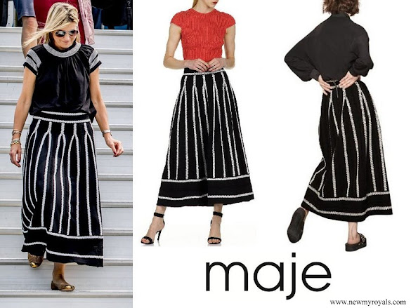 Queen Maxima wore MAJE jamais embroidered stretch jacquard knit skirt