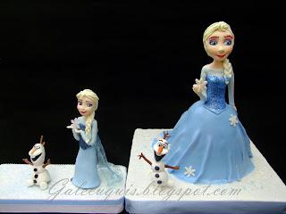 Elsa modelada en fondant