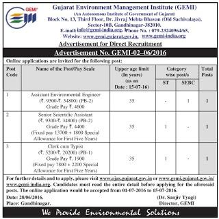 GEMI Recruitment 2016 - Asst. Environmental Engineer, Senior Scientific Assistant Posts