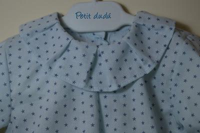Blusa y cubrepañal azul petitdudu